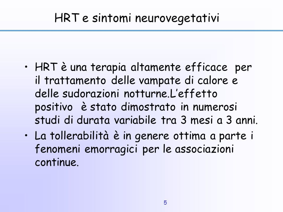 HRT e sintomi neurovegetativi