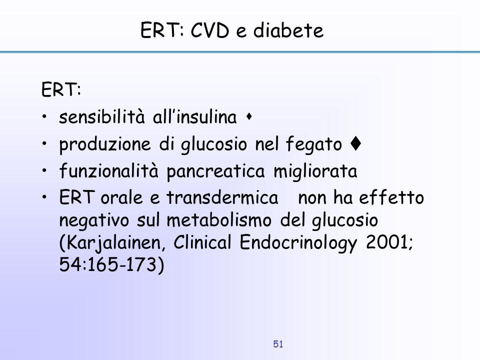 ERT: CVD e diabete ERT: sensibilità all'insulina 