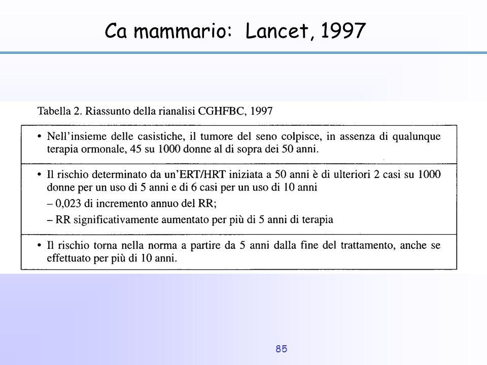 Ca mammario: Lancet, 1997