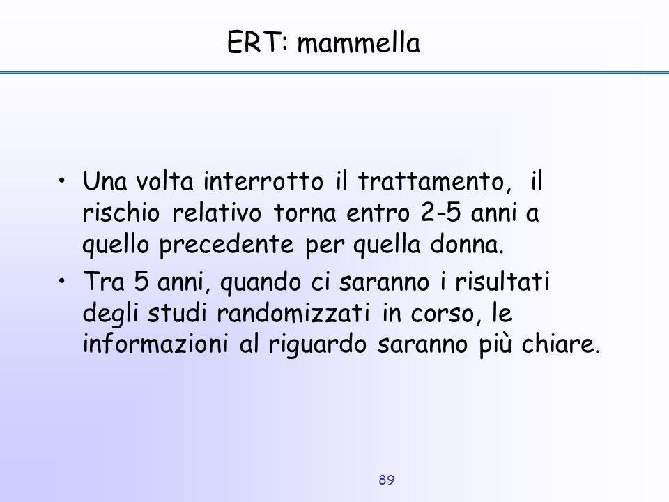 ERT: mammella Una volta interrotto il trattamento, il rischio relativo torna entro 2-5 anni a quello precedente per quella donna.