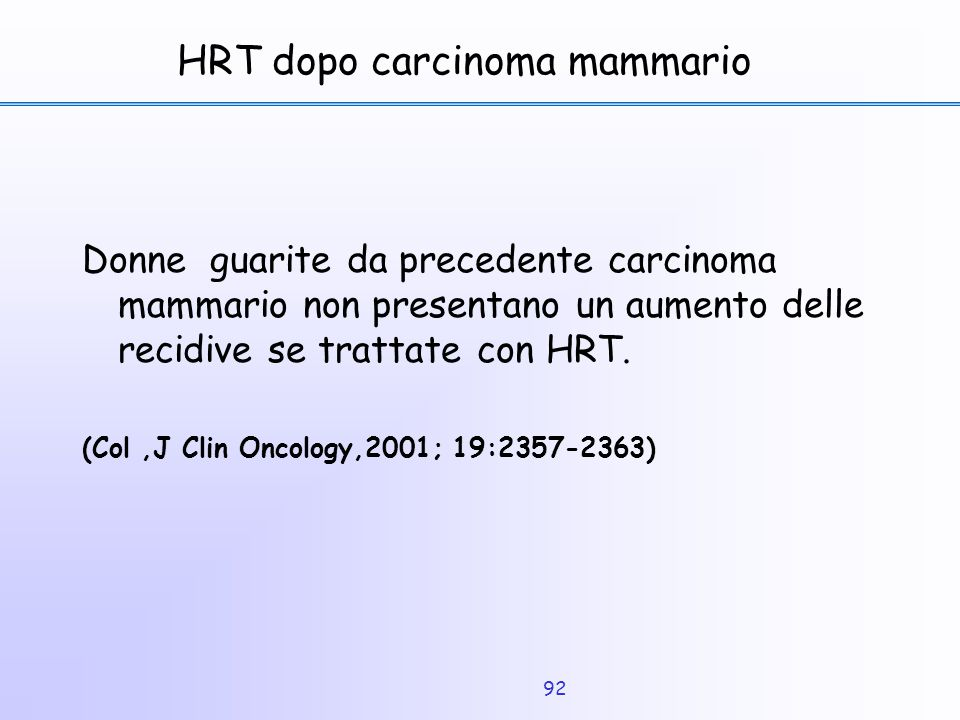 HRT dopo carcinoma mammario