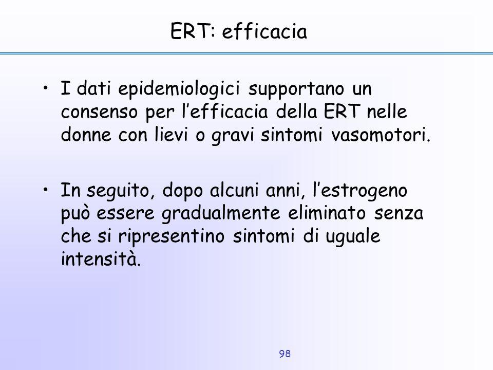 ERT: efficacia I dati epidemiologici supportano un consenso per l'efficacia della ERT nelle donne con lievi o gravi sintomi vasomotori.