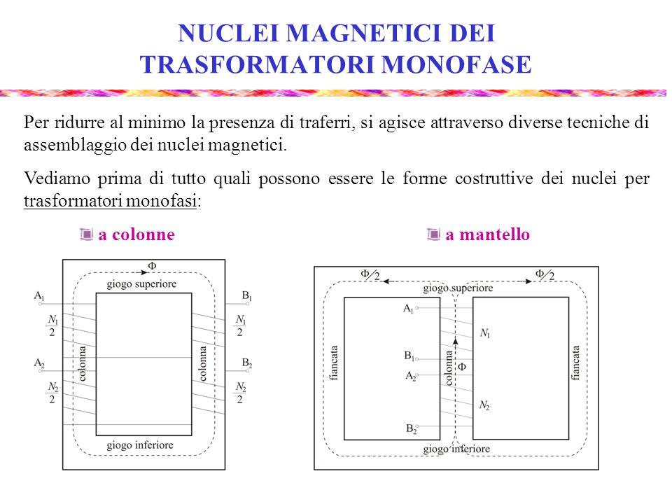 NUCLEI MAGNETICI DEI TRASFORMATORI MONOFASE