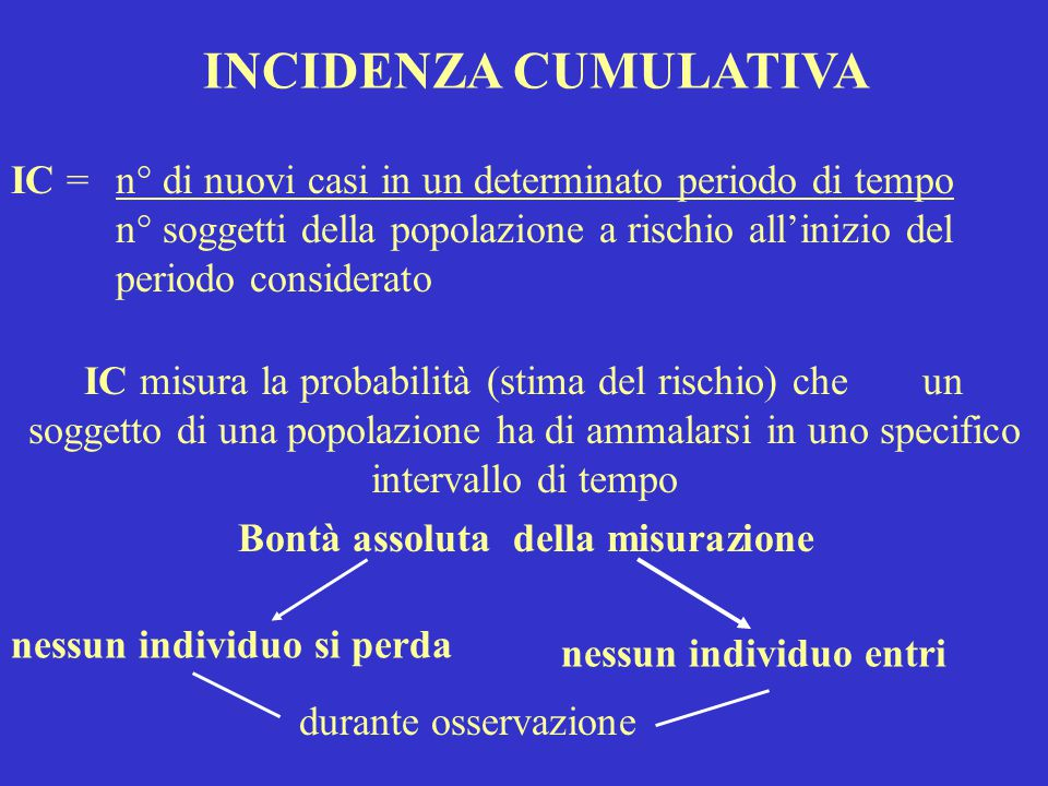 INCIDENZA CUMULATIVA IC = n° di nuovi casi in un determinato periodo di tempo.