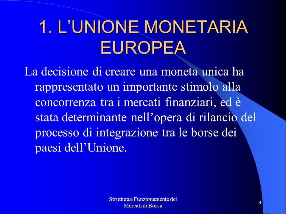 1. L'UNIONE MONETARIA EUROPEA