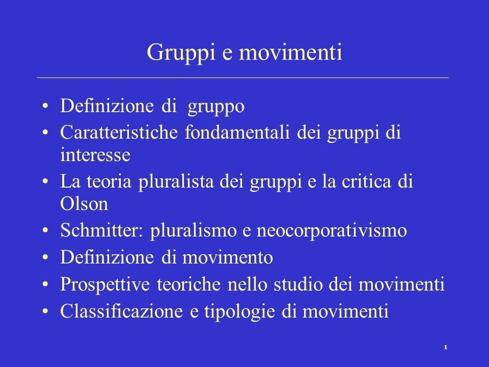 Gruppi e movimenti Definizione di gruppo