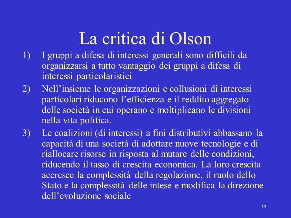 La critica di Olson