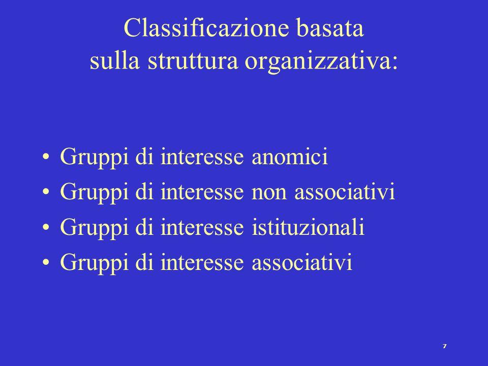 Classificazione basata sulla struttura organizzativa: