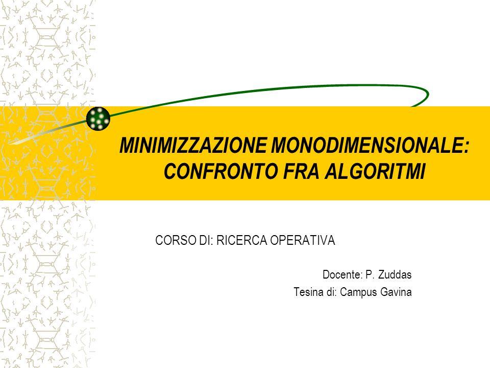 MINIMIZZAZIONE MONODIMENSIONALE: CONFRONTO FRA ALGORITMI
