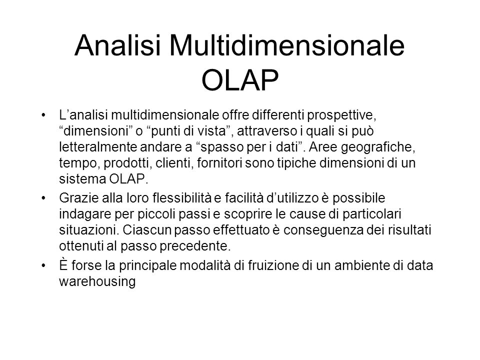 Analisi Multidimensionale OLAP