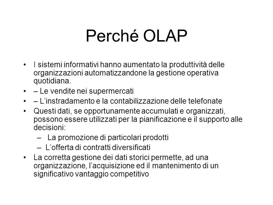 Perché OLAP I sistemi informativi hanno aumentato la produttività delle organizzazioni automatizzandone la gestione operativa quotidiana.