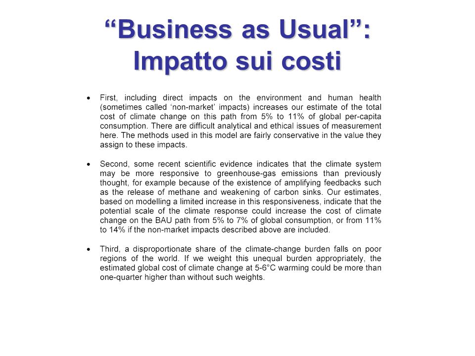 Business as Usual : Impatto sui costi