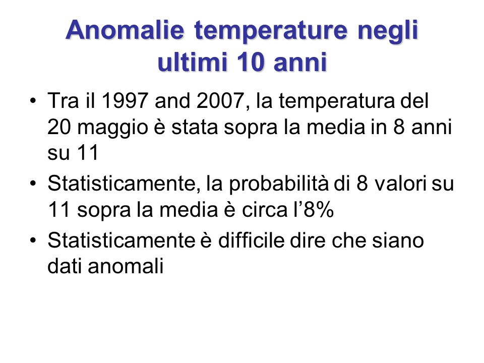 Anomalie temperature negli ultimi 10 anni