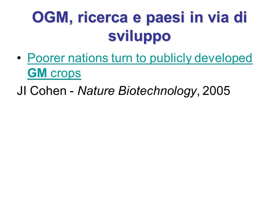 OGM, ricerca e paesi in via di sviluppo