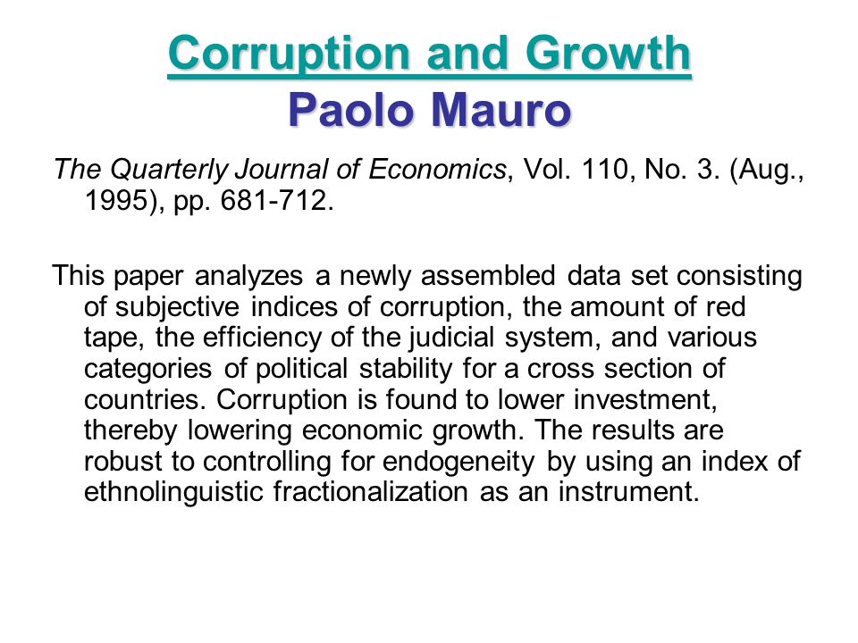 Corruption and Growth Paolo Mauro