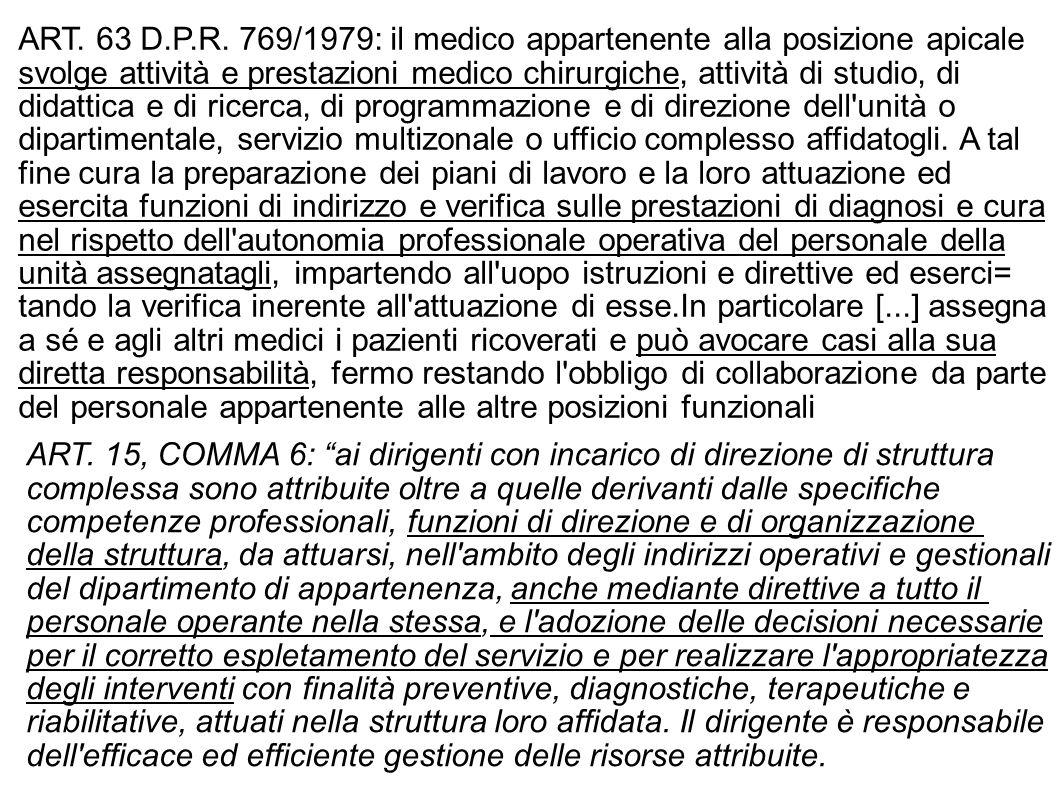 ART. 63 D.P.R. 769/1979: il medico appartenente alla posizione apicale