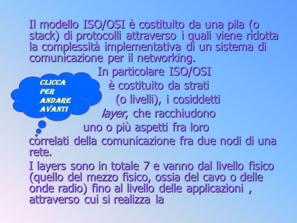 In particolare ISO/OSI è costituito da strati