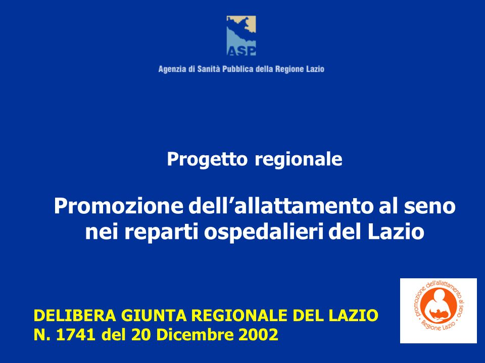 Promozione dell'allattamento al seno nei reparti ospedalieri del Lazio