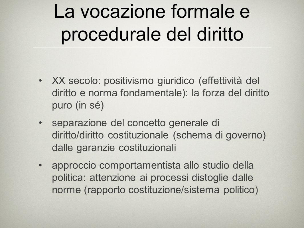 La vocazione formale e procedurale del diritto