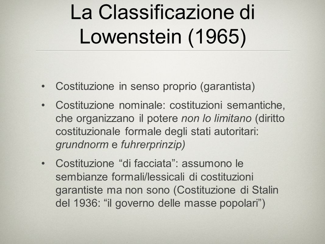 La Classificazione di Lowenstein (1965)
