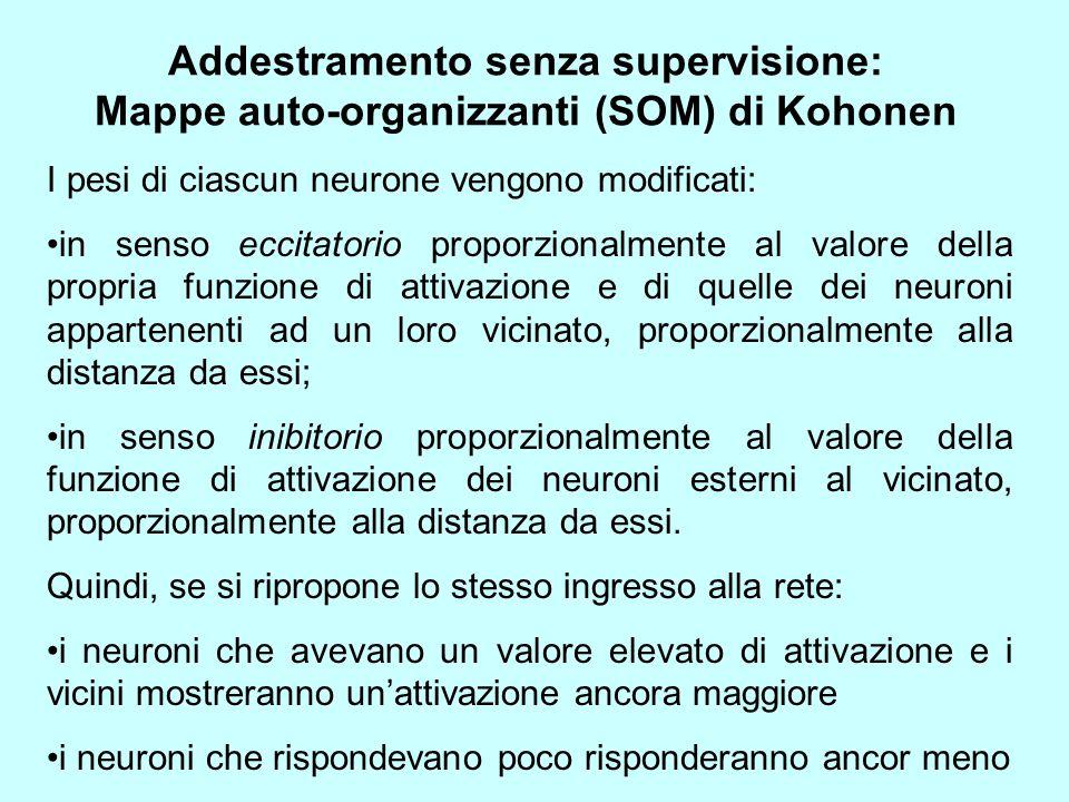 Addestramento senza supervisione: Mappe auto-organizzanti (SOM) di Kohonen
