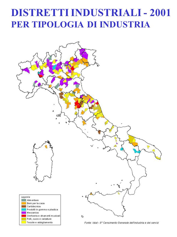 DISTRETTI INDUSTRIALI - 2001 PER TIPOLOGIA DI INDUSTRIA