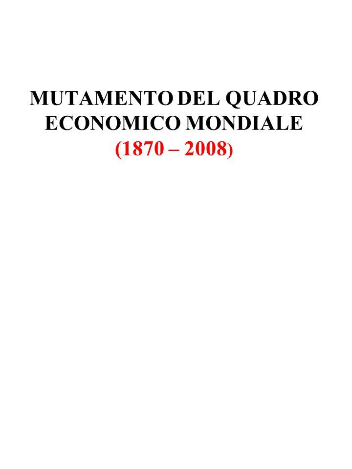 MUTAMENTO DEL QUADRO ECONOMICO MONDIALE (1870 – 2008)