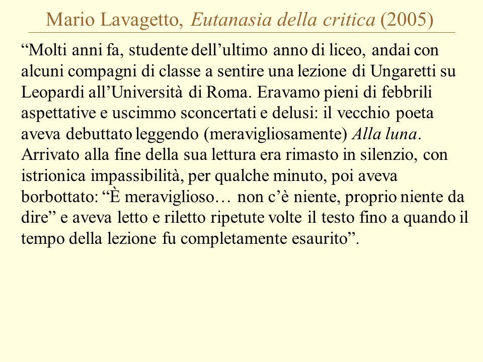 Mario Lavagetto, Eutanasia della critica (2005)