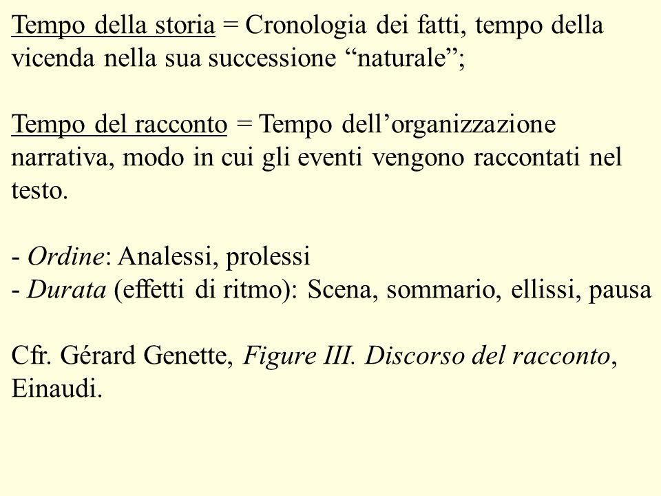 Tempo della storia = Cronologia dei fatti, tempo della vicenda nella sua successione naturale ;
