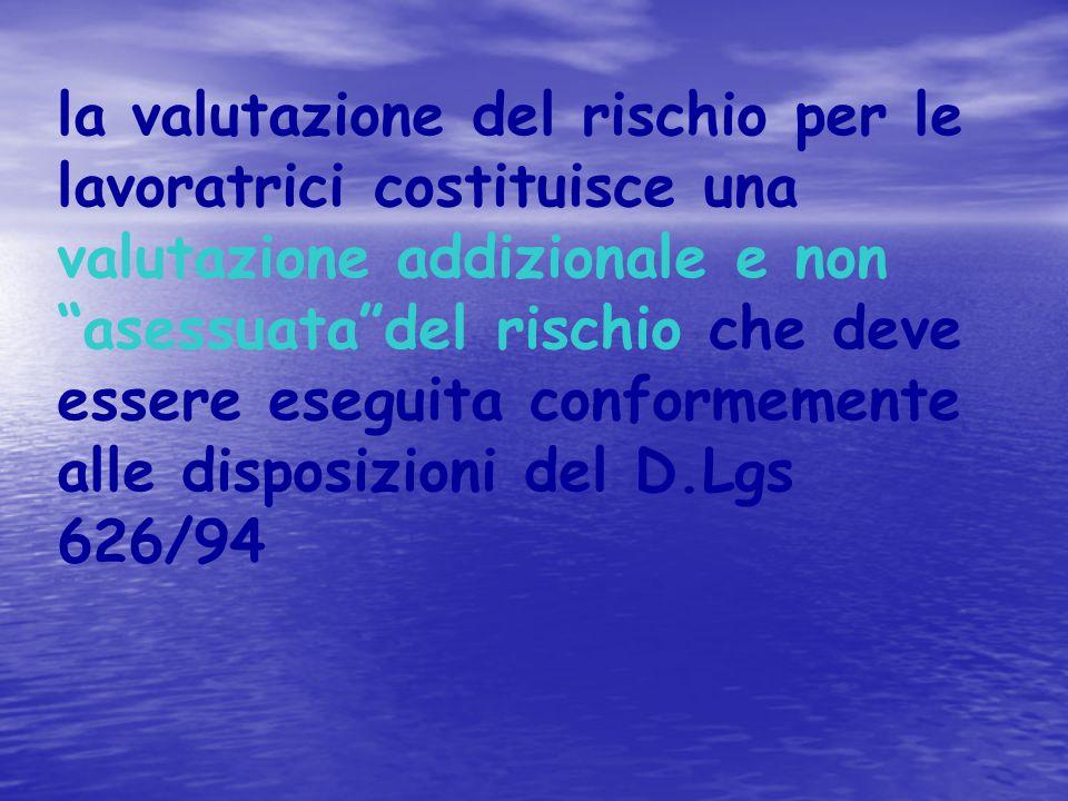 la valutazione del rischio per le lavoratrici costituisce una valutazione addizionale e non asessuata del rischio che deve essere eseguita conformemente alle disposizioni del D.Lgs 626/94