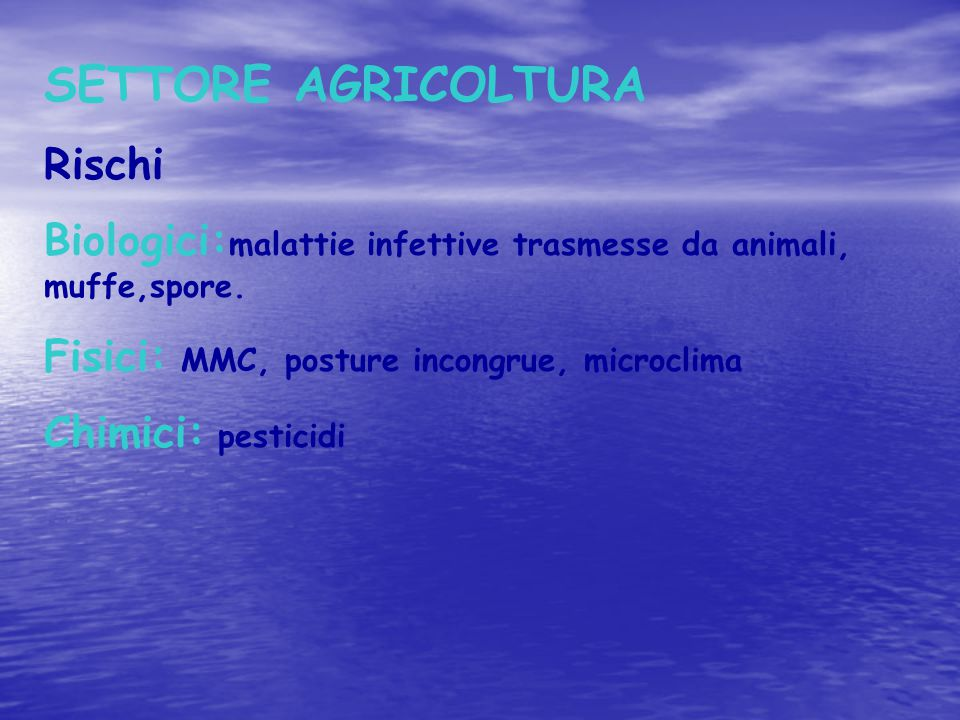 SETTORE AGRICOLTURA Rischi