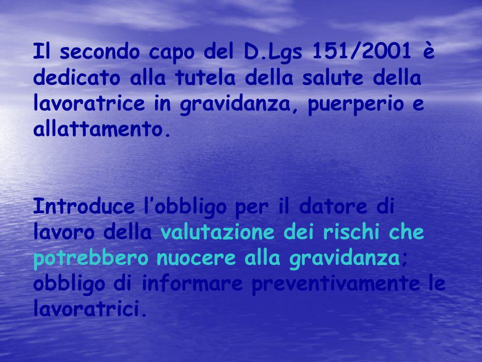 Il secondo capo del D.Lgs 151/2001 è dedicato alla tutela della salute della lavoratrice in gravidanza, puerperio e allattamento.