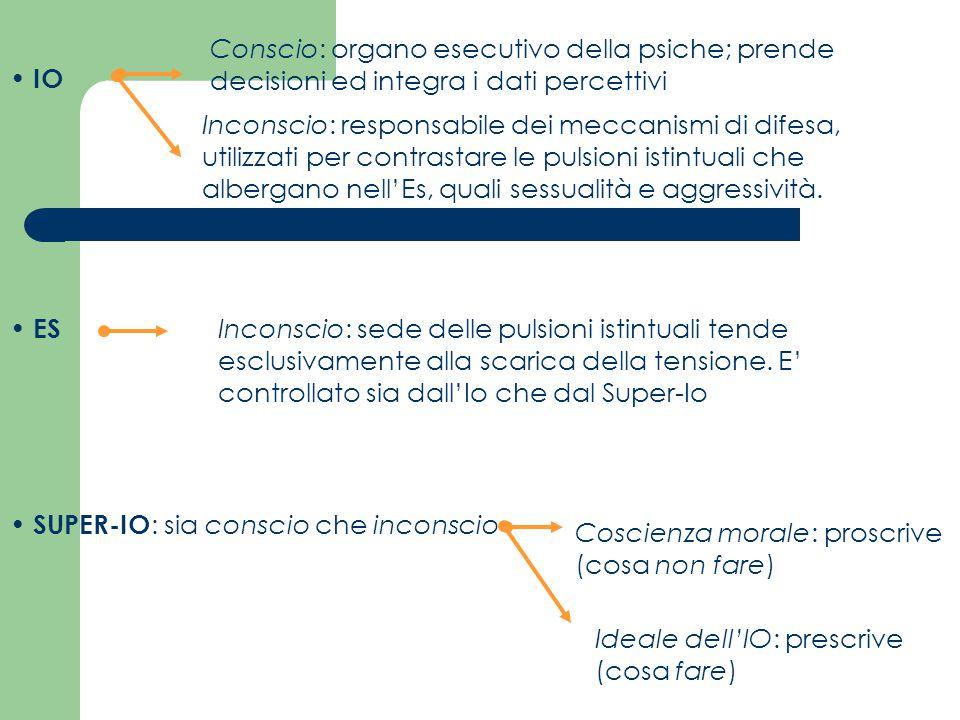 Conscio: organo esecutivo della psiche; prende decisioni ed integra i dati percettivi