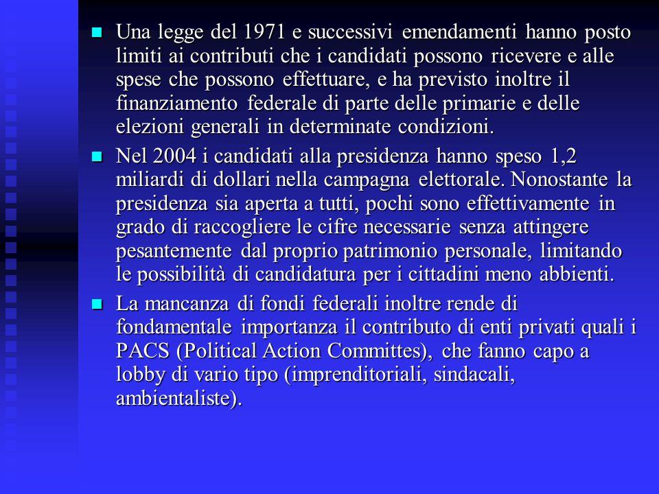 Una legge del 1971 e successivi emendamenti hanno posto limiti ai contributi che i candidati possono ricevere e alle spese che possono effettuare, e ha previsto inoltre il finanziamento federale di parte delle primarie e delle elezioni generali in determinate condizioni.