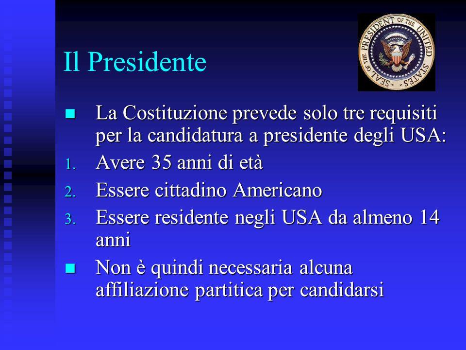 Il Presidente La Costituzione prevede solo tre requisiti per la candidatura a presidente degli USA: