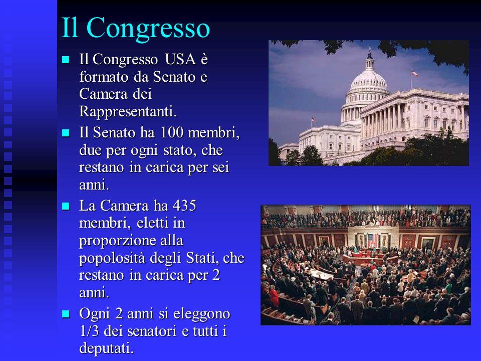 Il Congresso Il Congresso USA è formato da Senato e Camera dei Rappresentanti.