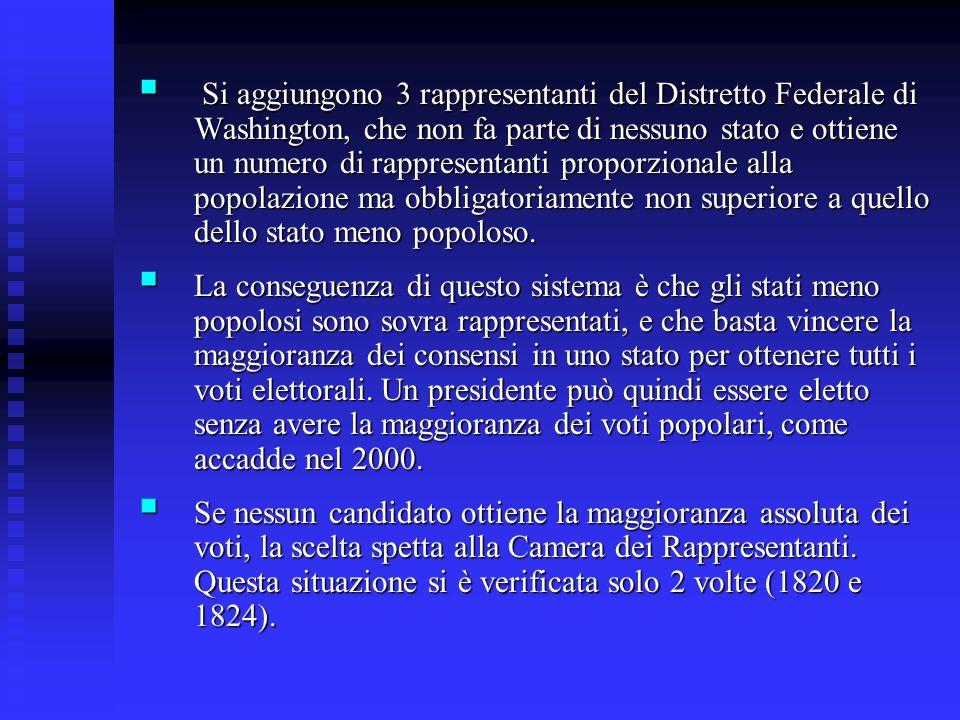 Si aggiungono 3 rappresentanti del Distretto Federale di Washington, che non fa parte di nessuno stato e ottiene un numero di rappresentanti proporzionale alla popolazione ma obbligatoriamente non superiore a quello dello stato meno popoloso.