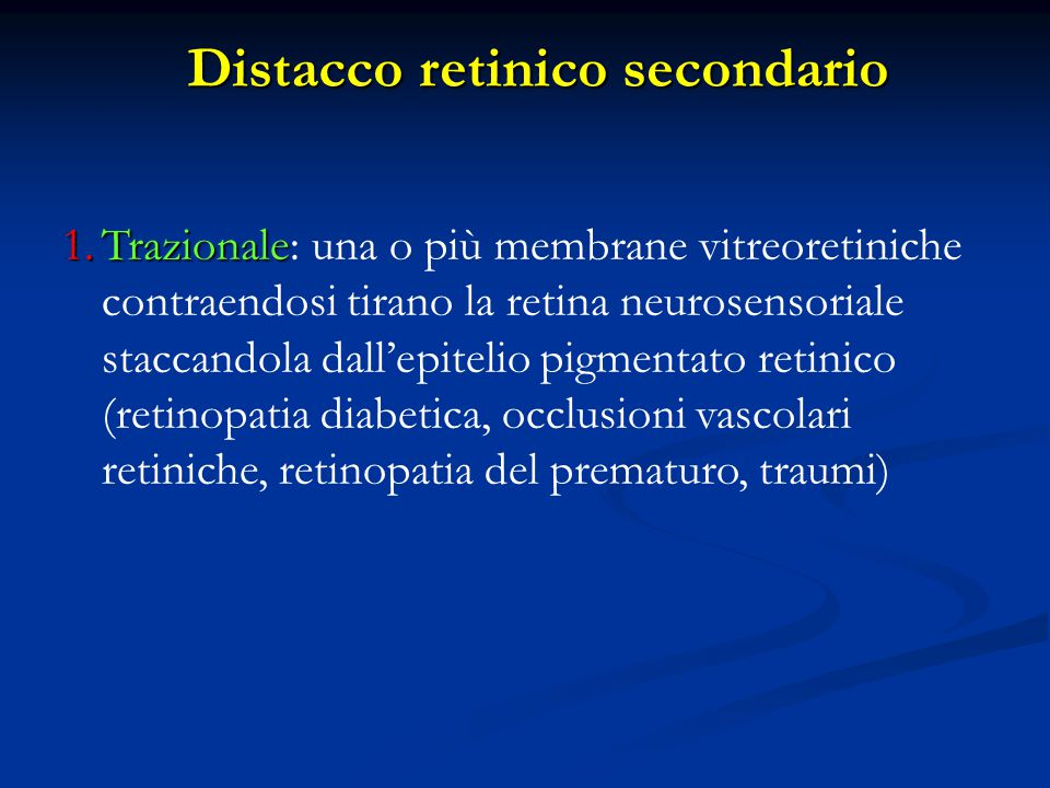 Distacco retinico secondario