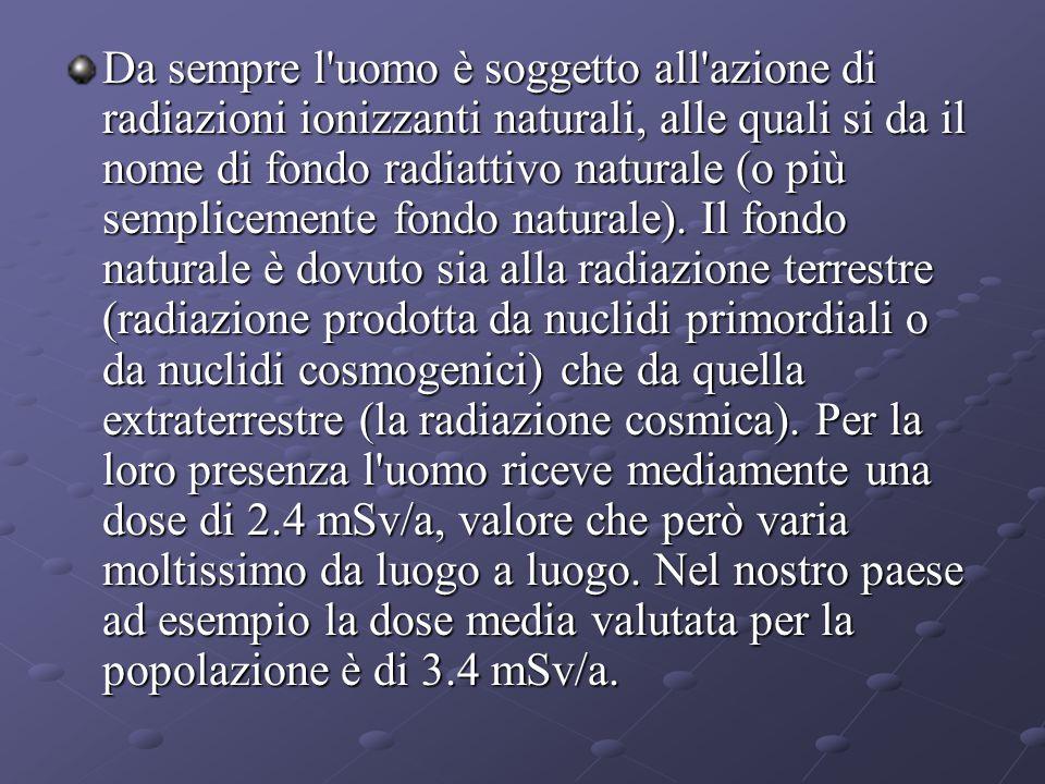 Da sempre l uomo è soggetto all azione di radiazioni ionizzanti naturali, alle quali si da il nome di fondo radiattivo naturale (o più semplicemente fondo naturale).