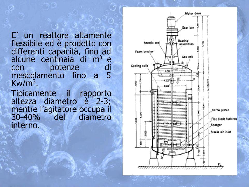 E' un reattore altamente flessibile ed è prodotto con differenti capacità, fino ad alcune centinaia di m3 e con potenze di mescolamento fino a 5 Kw/m3.
