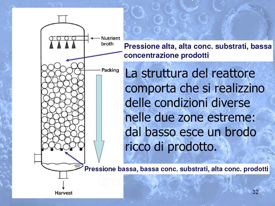 La struttura del reattore comporta che si realizzino delle condizioni diverse nelle due zone estreme: dal basso esce un brodo ricco di prodotto.