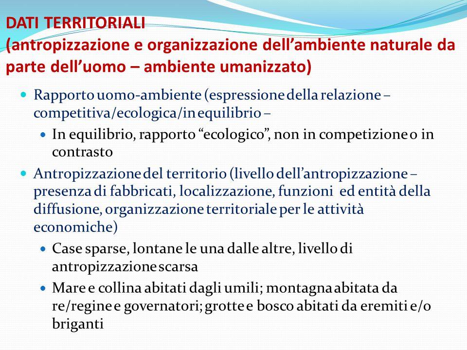 DATI TERRITORIALI (antropizzazione e organizzazione dell'ambiente naturale da parte dell'uomo – ambiente umanizzato)