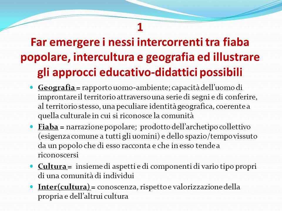 1 Far emergere i nessi intercorrenti tra fiaba popolare, intercultura e geografia ed illustrare gli approcci educativo-didattici possibili
