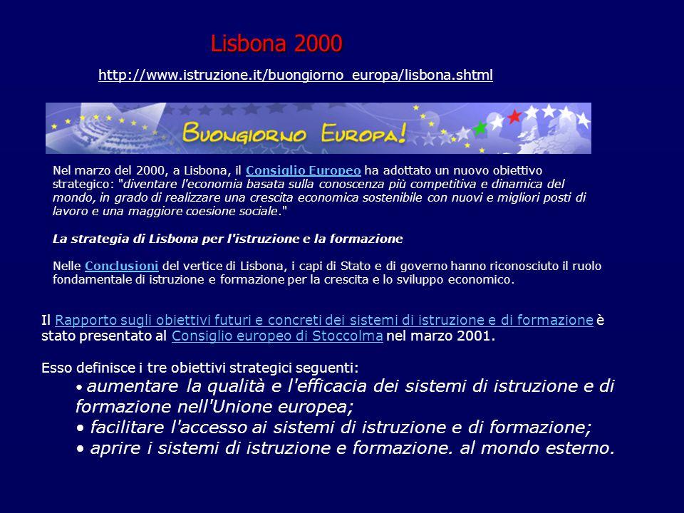 Lisbona 2000 http://www.istruzione.it/buongiorno_europa/lisbona.shtml.