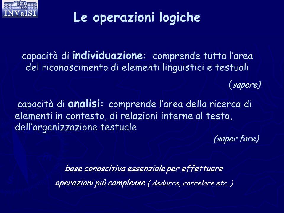 Le operazioni logiche capacità di individuazione: comprende tutta l'area del riconoscimento di elementi linguistici e testuali.