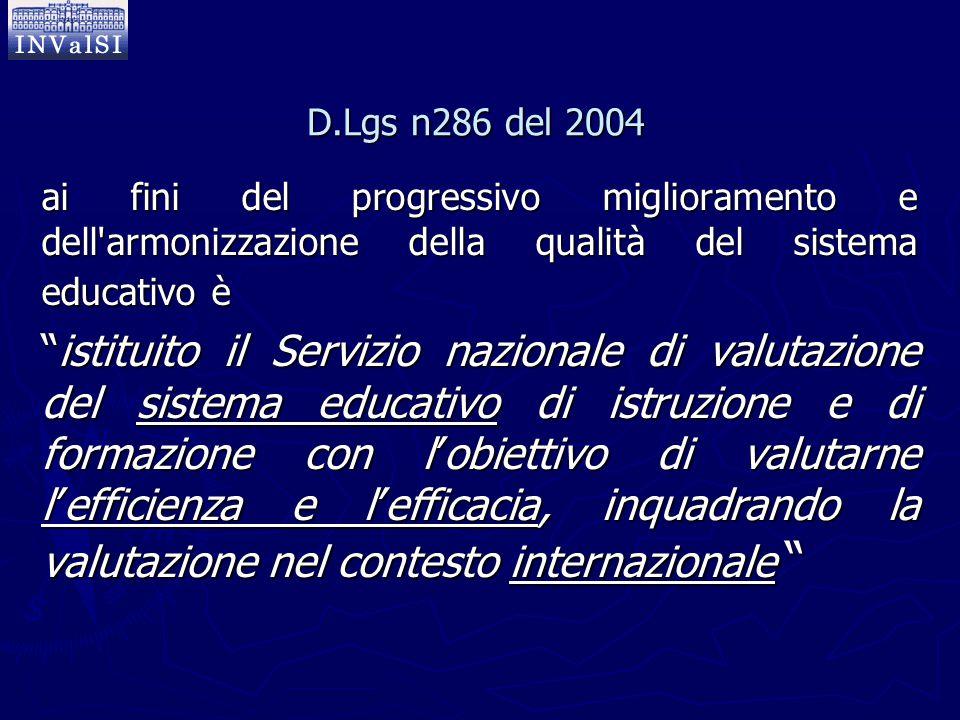 D.Lgs n286 del 2004 ai fini del progressivo miglioramento e dell armonizzazione della qualità del sistema educativo è.