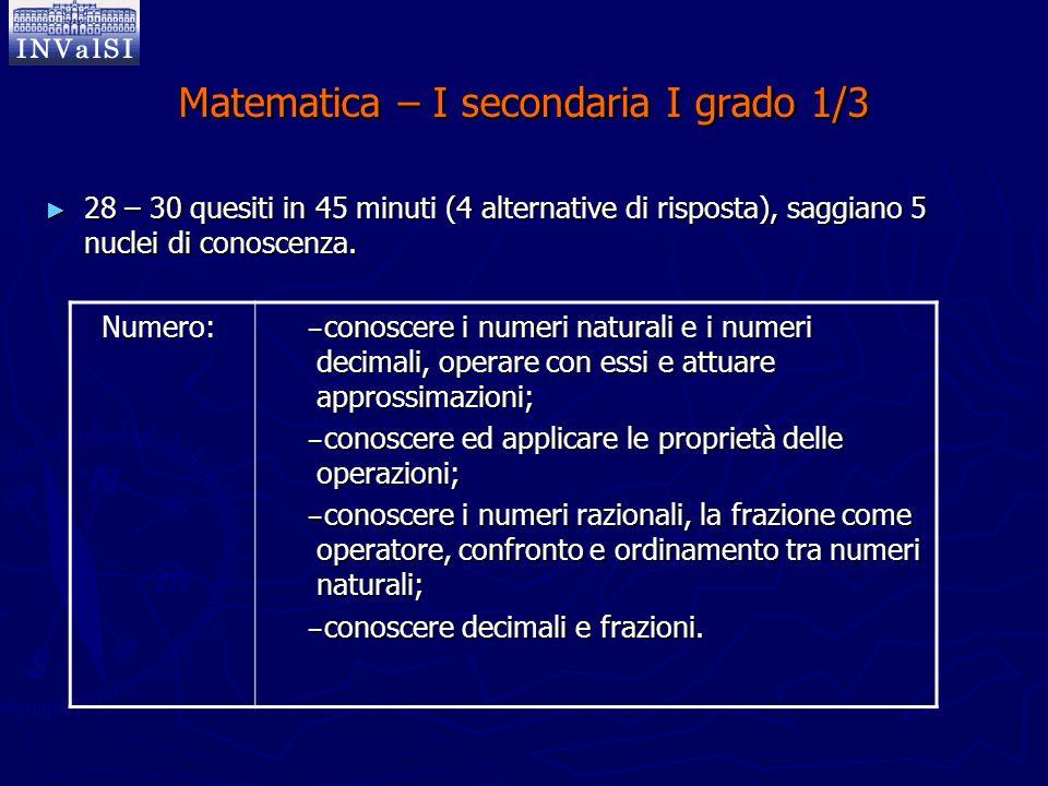 Matematica – I secondaria I grado 1/3