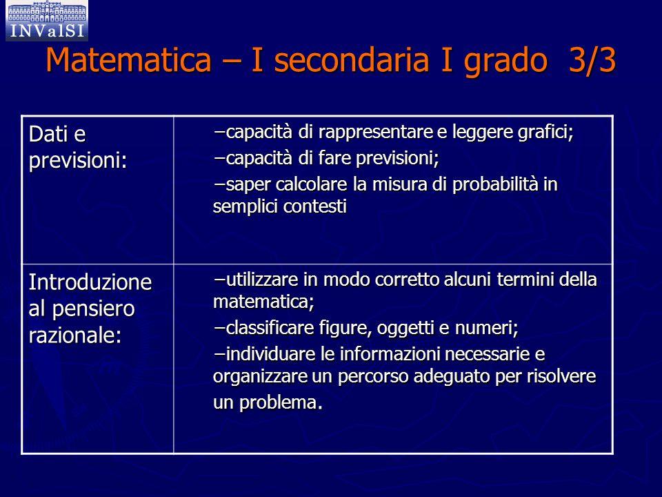 Matematica – I secondaria I grado 3/3