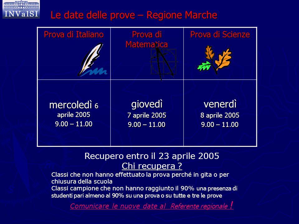 Le date delle prove – Regione Marche