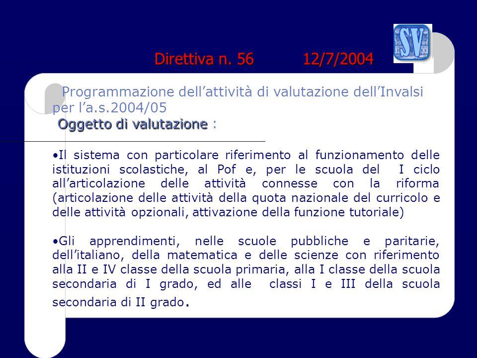 Direttiva n. 56 12/7/2004 Programmazione dell'attività di valutazione dell'Invalsi per l'a.s.2004/05.